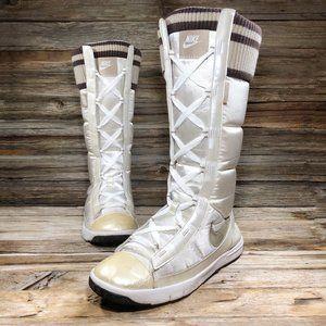 Nike Retro 2007 White Satin Winter Knee-High Boots
